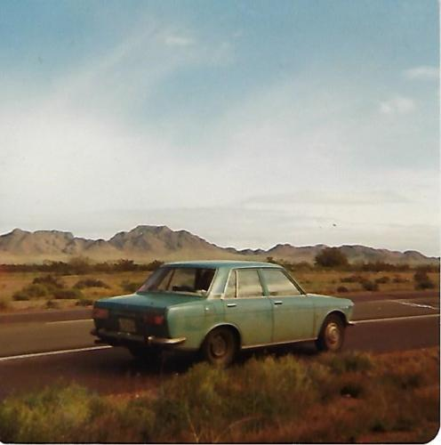 Datsun F10 in Texas 1976 as Louise and I  traveled through the USA.